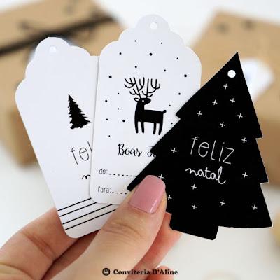 tag etiqueta presente natal moderno