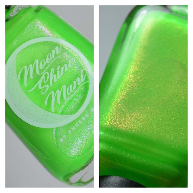 neon green nail polish with shimmer in a bottle