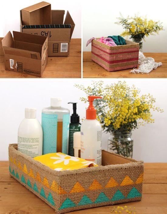 Caixas organizadoras feitas com caixas de papelão
