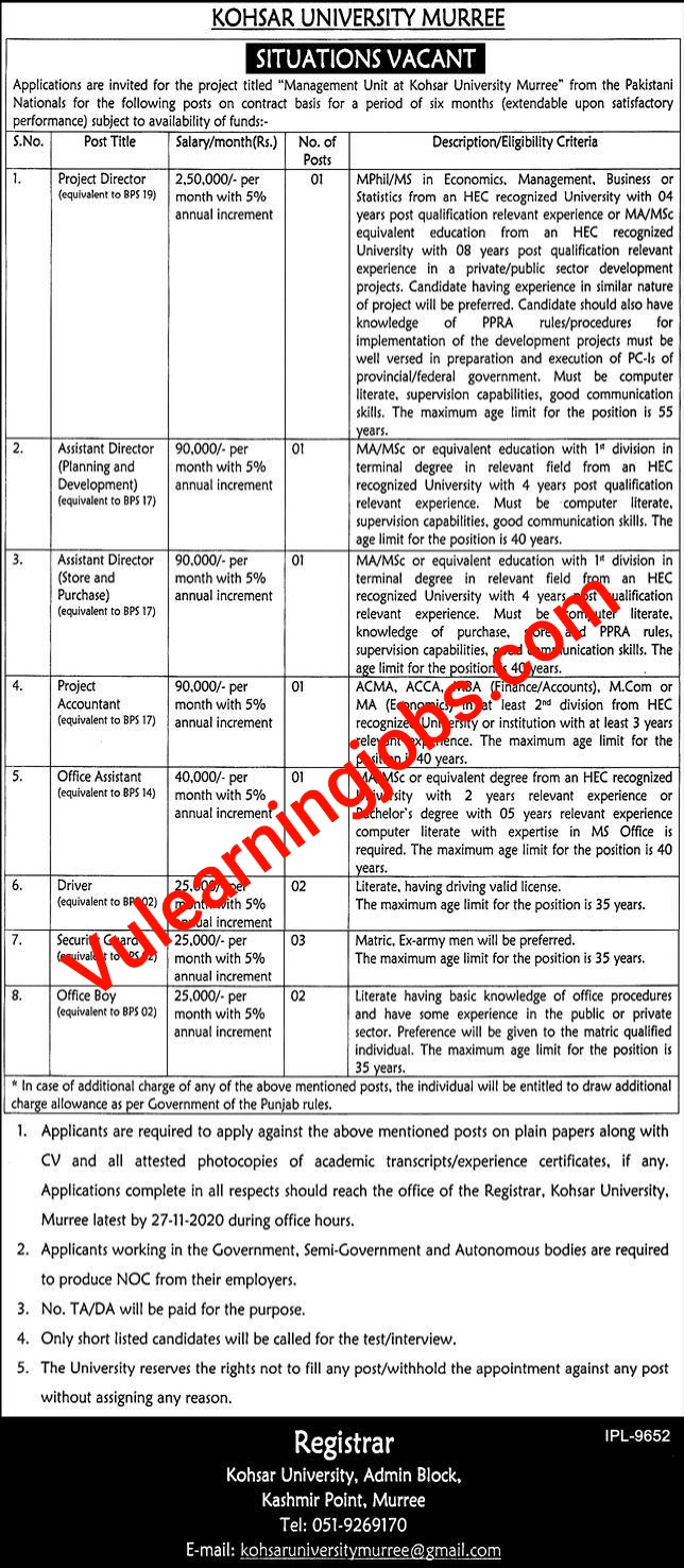 Kohsar University Murree Jobs 2020 In Pakistan For Director, Assistant Director, Accountant & Other Latest