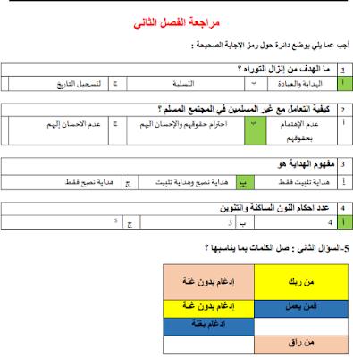اوراق عمل التربية الاسلامية للصف السادس الفصل الثالث 2018-2019
