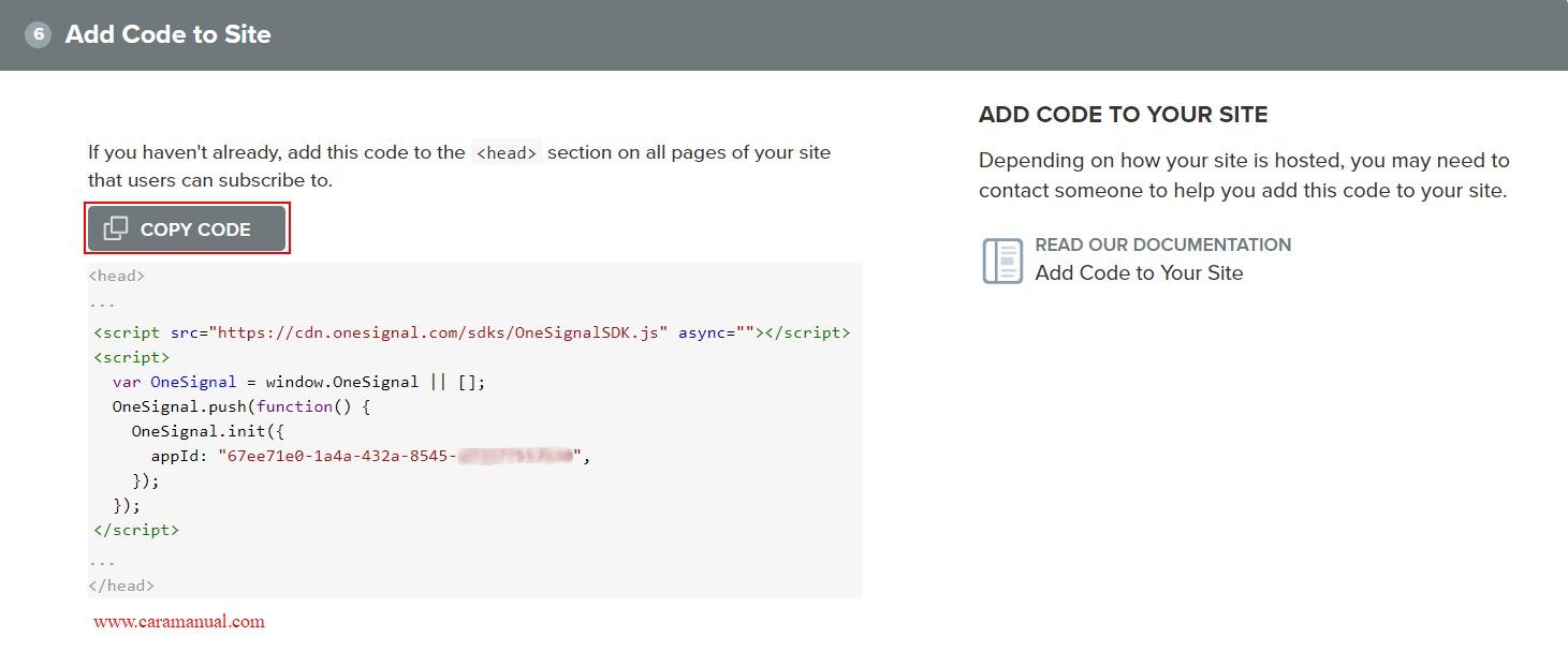 Konfigurasi web push onesignal