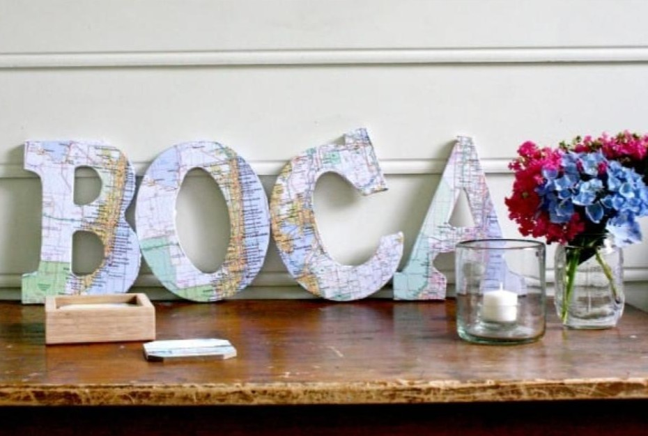 cover letters in maps and spell out a name wall art idea