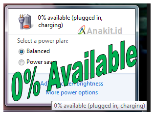 penyebab dan cara mengatasi 0% available plugged in, charging pada laptop windows 7 8, 10