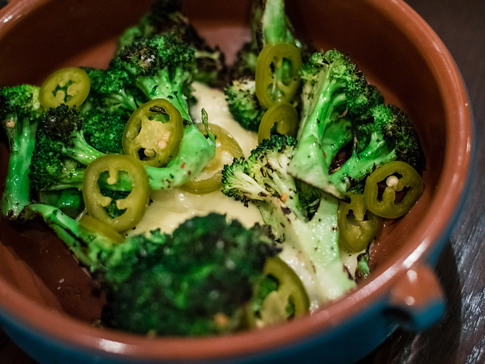 Charred broccoli with pickled jalapenos and garlic sauce at Mezon | Local Food Rocks