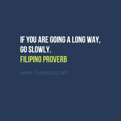 If you are going a long way, go slowly