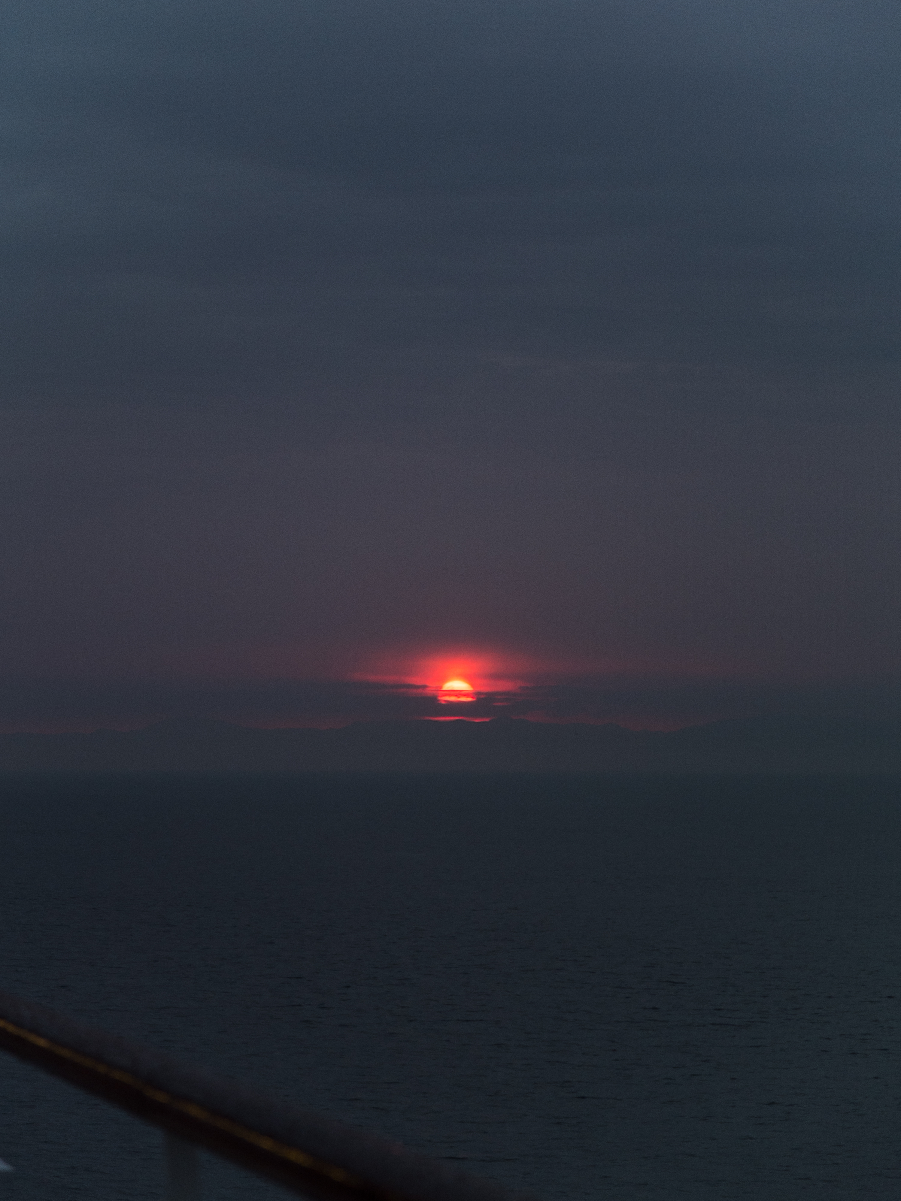 Sunrise from a cruise ship in the Strait of Gibraltar.