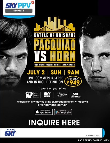 Pacquiao vs Horn fight Sky Cable