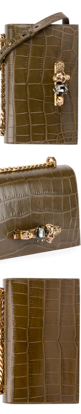 Alexander McQueen Jeweled Croc-Embossed Leather Satchel Bag