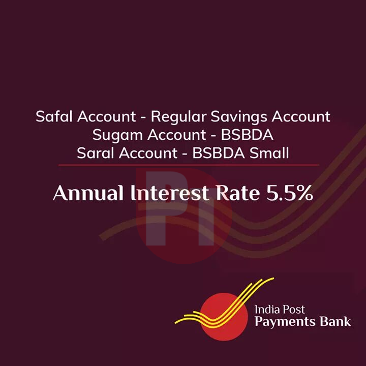 IPPB Savings Account Annual Interest Rate 5.5%