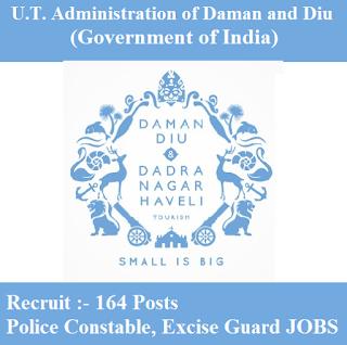 Government of India, U.T. Administration of Daman and Diu, Administration of Daman and Diu, 10th, Police Constable, Excise Guard, freejobalert, Sarkari Naukri, Latest Jobs, daman and diu logo