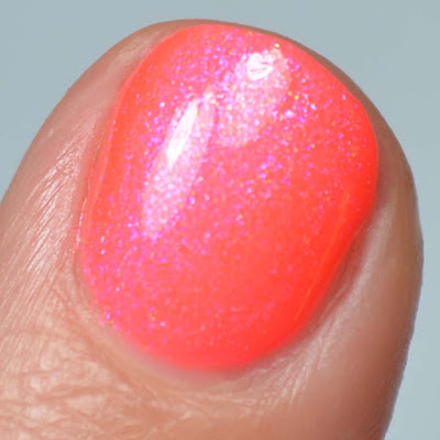 hot red nail polish with shimmer swatch