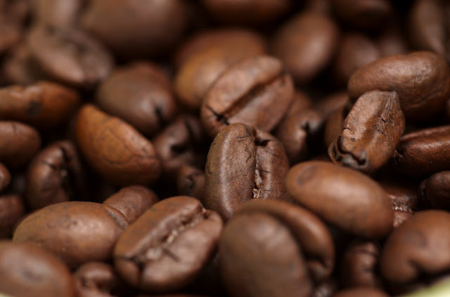 Close up of brown coffee beans