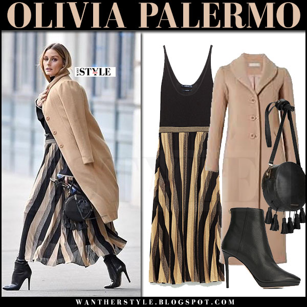 Olivia Palermo in camel coat related koryn, striped pleated knit maxi zara dress and black ankle boots jimmy choo harvey what she wore