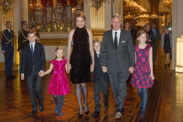 Princess Elisabeth, Prince Emmanuel, Prince Gabriel, Princess Eleonore, Queen Mathilde, King Philippe of Belgiuim