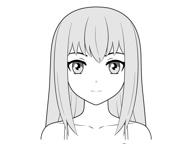 Anime menggambar wajah gadis biasa