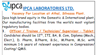 12th Pass, ITI, BA, B. Com, Diploma Experienced Candidates Jobs Vacancy in IPCA Laboratories Ltd For Officer / Trainee / Technician/ Supervisor