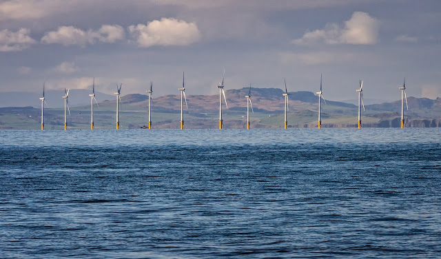 Photo of part of Robin Rigg Wind Farm on the Solway Firth