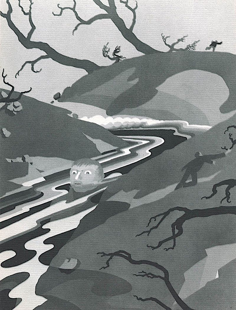 John Vassos 1931 illustration of potamophobia