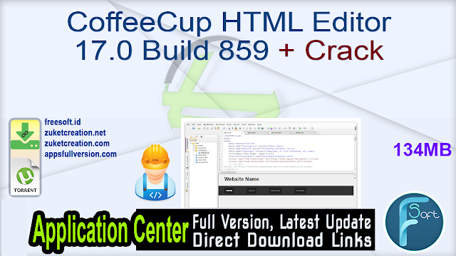 CoffeeCup HTML Editor 17.0 Build 859 + Crack