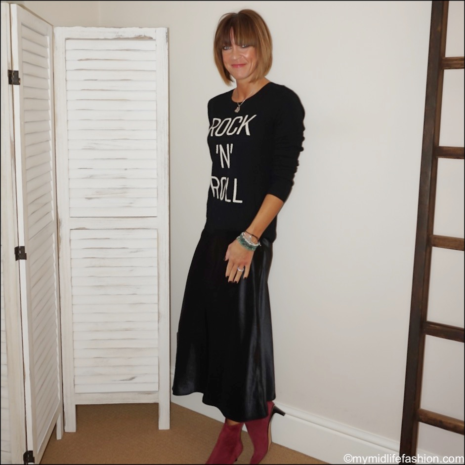 my midlife fashion, hush rock n roll cashmere jumper, marks and Spencer slip midi skirt, Isabel Marant goat suede ankle boots