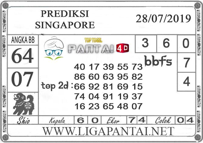 "PREDIKSI TOGEL ""SINGAPORE"" PANTAI4D 28 JULI 2019"