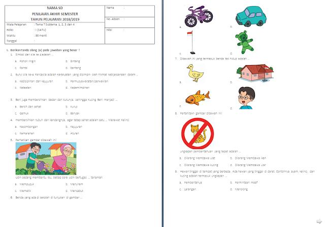 Soal Penilaian Akhir Semester (PAS) Kelas 1 SD/MI: Tema 7