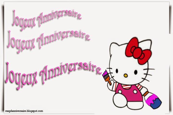 Carte anniversaire fille hello kitty à imprimer