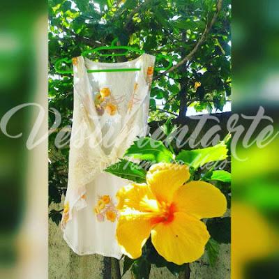 Colete floral hibisco amarelo