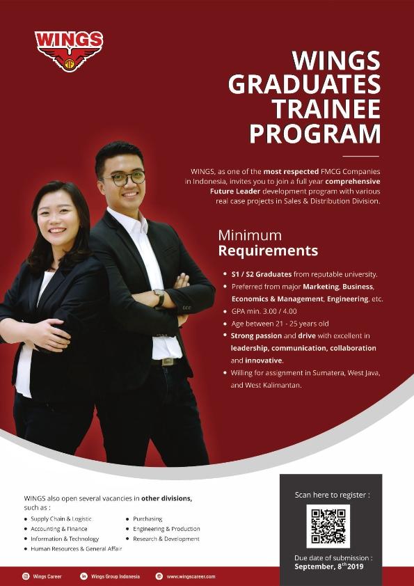 Lowongan Kerja PT Sayap Mas Utama (Wings Group) Deadline 8 September 2019