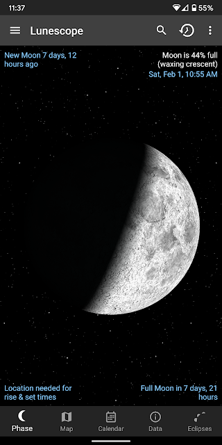 Lunescope Moon Viewer on a Pixel 2 XL phone