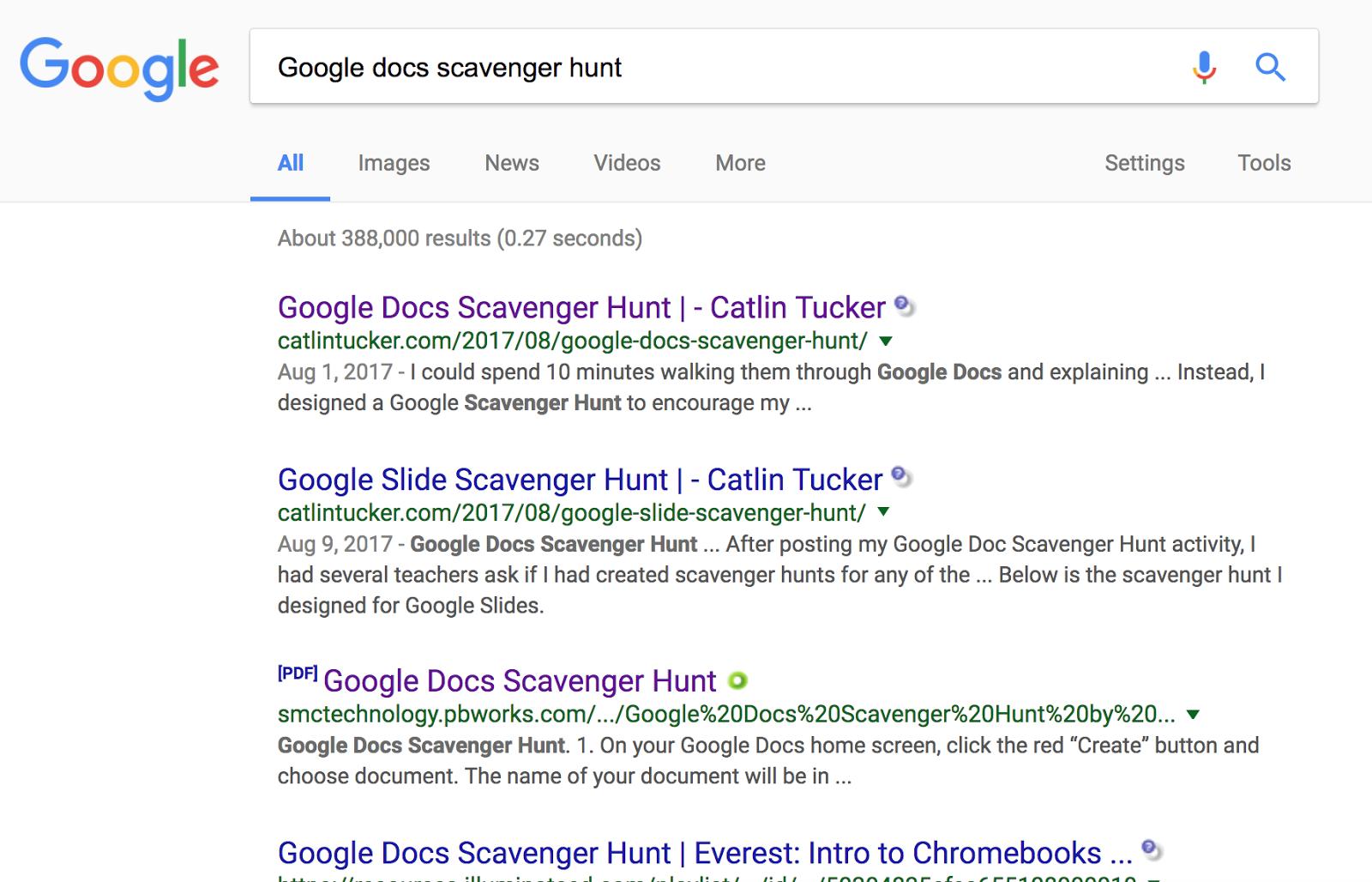 Scratching kids' brains: Google Docs Scavenger Hunt