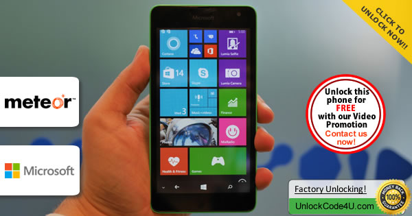 Factory Unlock Code Microsoft Lumia 535 from Meteor