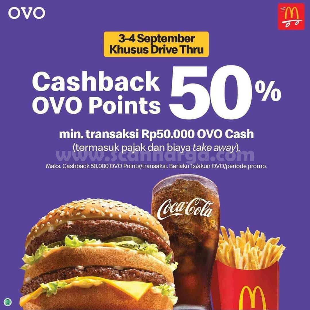 Promo McDonalds Cashback OVO 50% Khusus Grabfood & Drive Thru