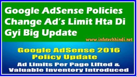 Google AdSense Policies Change Ad's Limit Hta Di Gyi Big Update