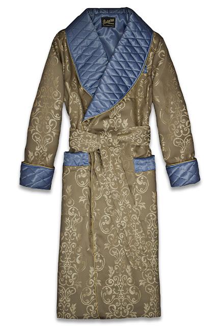 stilvoller herren hausmantel morgenmantel lang elegant edel gefüttert warm gesteppt gold blau paisley seide baumwolle