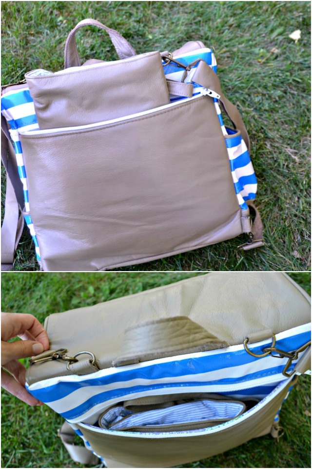 Leather Diaper Bag and Matching Leather Wallet Clutch