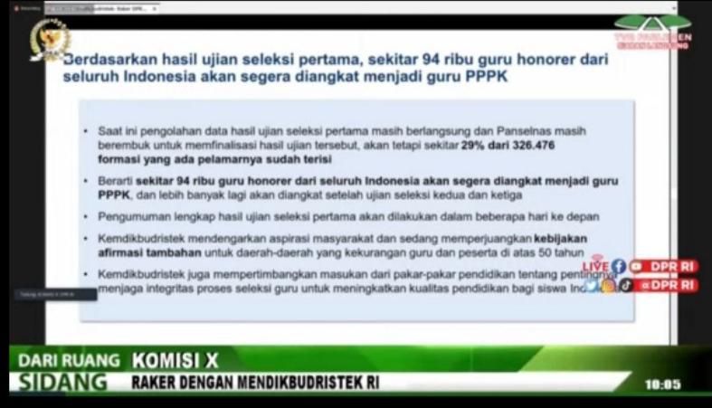 gambar raker DPRI RI dengan Kemendikbud ristek tentang pembahasan permasalahan seleksi PPPK Guru Tahun 2021