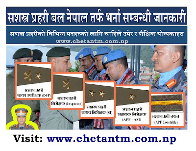 Armed Police Force (APF Nepal) Vacancy Details, Required Age & Qualifications