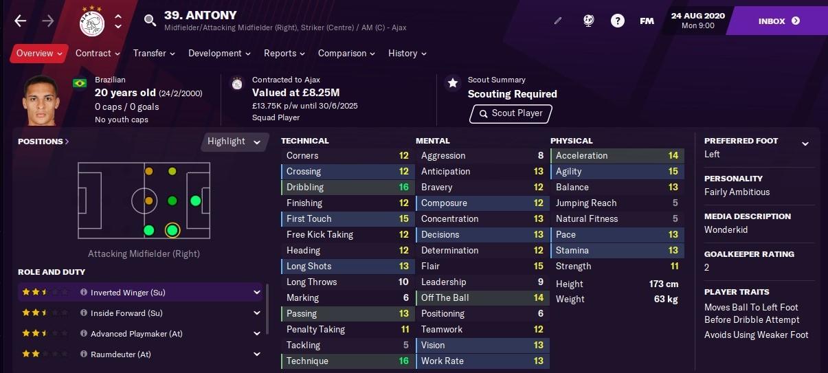 Antony Football Manager 2021 FM21