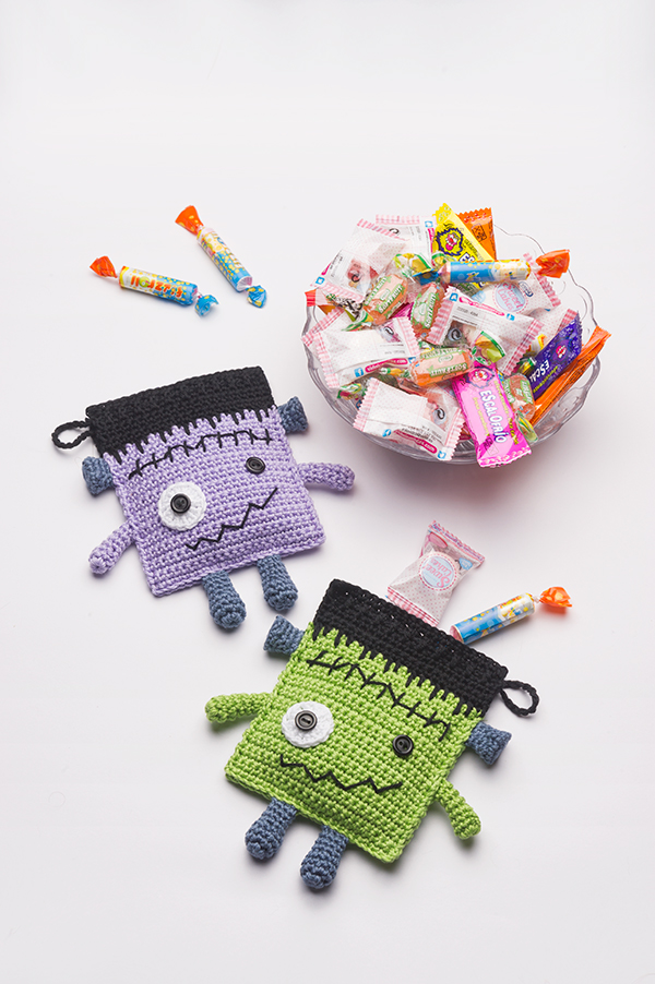 Frankenstein Candy Pouches free pattern by Anabelia Craft Design