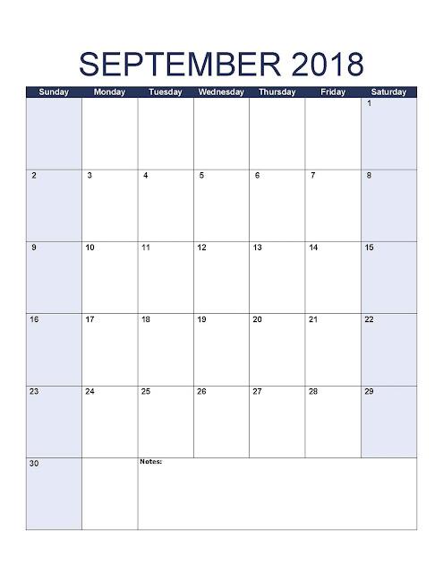 September 2018 Calendar USA