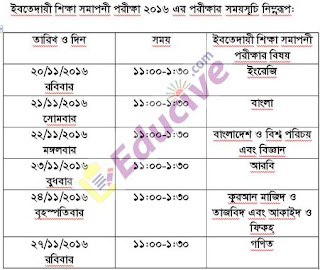 Ebtedayee Exam Routine 2016