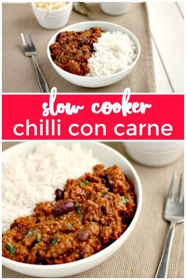 easy slow cooker chilli con carne (no browning of the minced beef required)