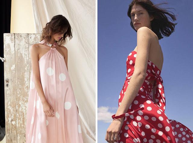 Платья макси с крупным принтом горох красного и розового цвета