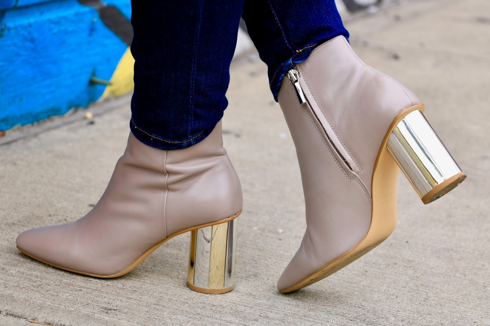 nude zara booties