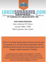 Walk In Interview di PT. Campina Ice Cream Industry Tbk Surabaya Terbaru Juli 2019