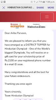 अरीबा परवीन ने हिंदुस्तान ओलंपियाड में जिला में प्रथम स्थान प्राप्त किया | #NayaSaberaNetwork