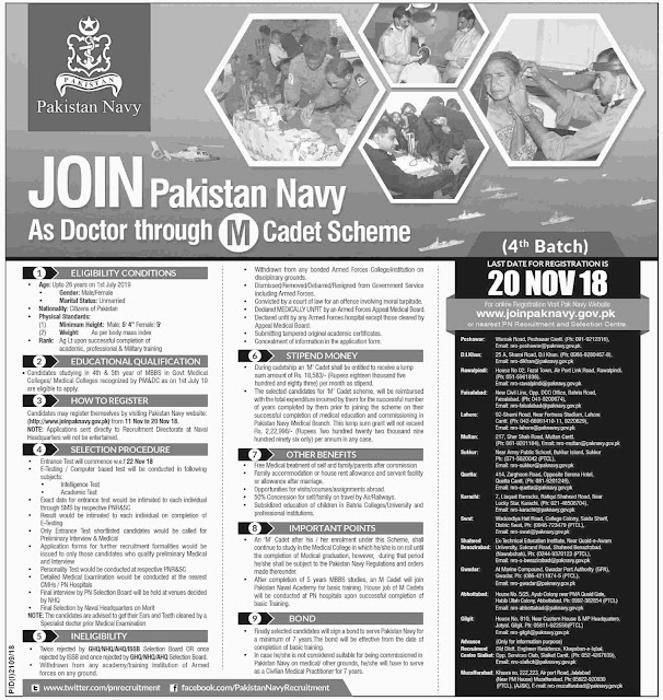 #Jobs - #Career_Opportunities #Jobs Join Pakistan Navy as Doctor – Apply before 20th Nov 2018