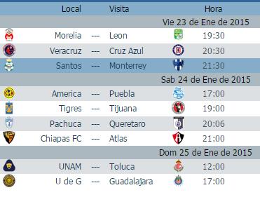 Calendario juegos jornada 3 futbol mexicano clausura 2015 liga mx ... 2fd7362bb70e5